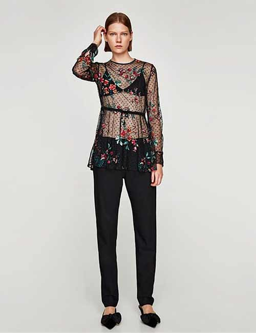 3. Floral Long Sleeves Sheer Top