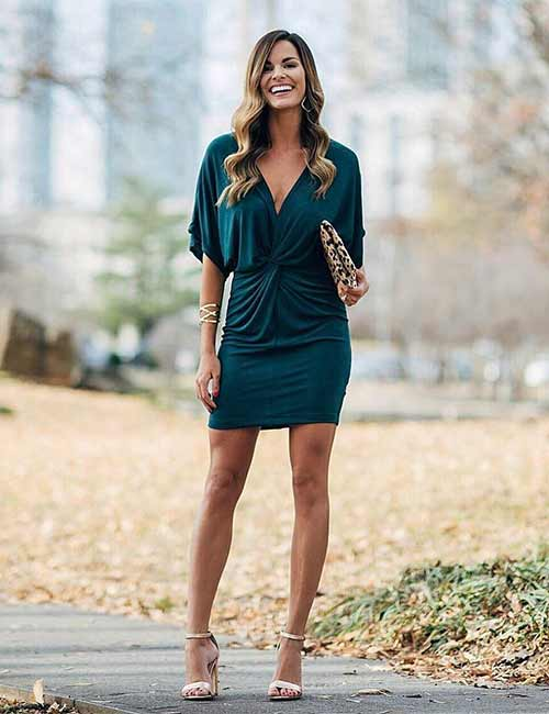 af7b4dd615e2 Beautiful Wedding Guest Dress Ideas - Short Bottle Green Dress
