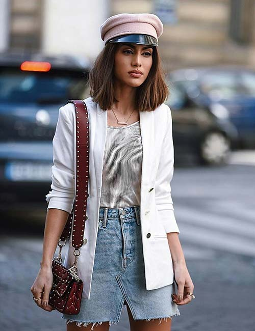 Denim Skirt Outfit Ideas - V-Cut Denim Skirt With A Blazer