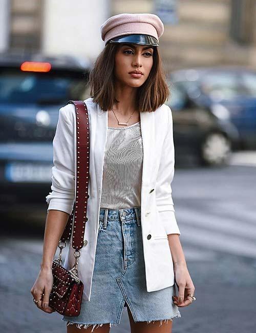 4. V-Cut Denim Skirt With A Blazer