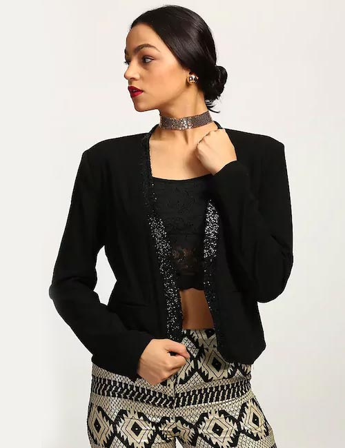 How To Wear A Blazer - Black Sequin Blazer