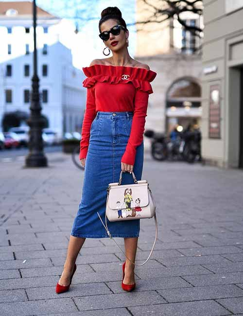 Denim Skirt Outfit Ideas - Long Denim Skirt And Cashmere