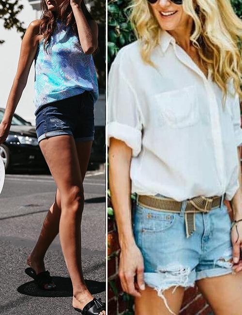Come infilare una camicia - Piega all'ombelico con pantaloncini di jeans