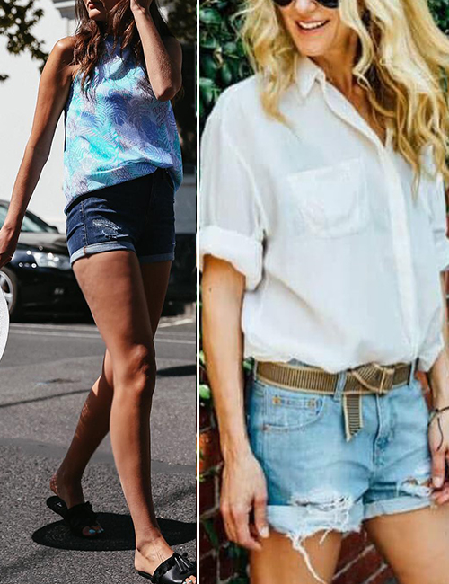 5. Navel Tuck With Denim Shorts