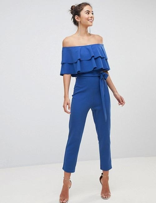 Beautiful Wedding Guest Dress Ideas - Off Shoulder Pantsuit In Blue