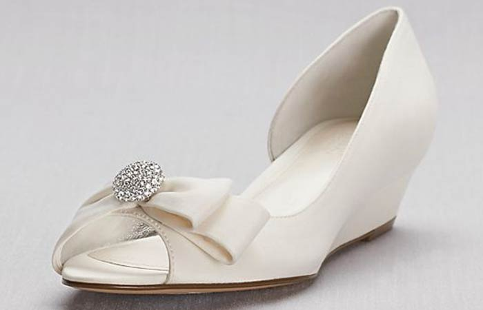 Bridal Wedding Shoes - White Wedding Wedges