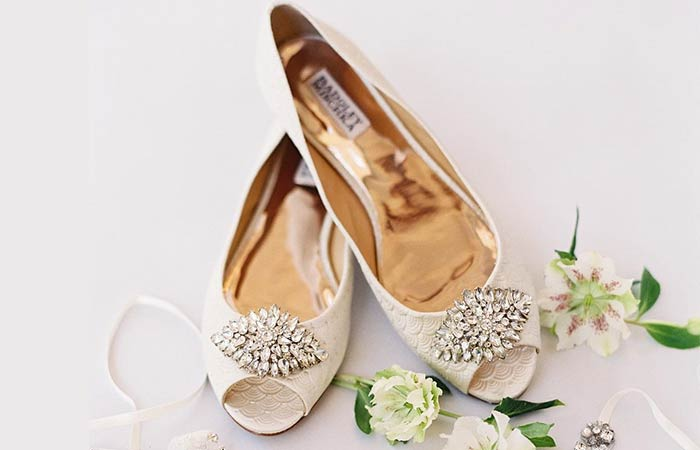 Bridal Wedding Shoes - Ornate Flat Peep-toes