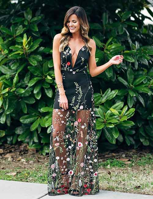 88e46424519 Beautiful Wedding Guest Dress Ideas - Floral And Sheer Outfit For A Beach  Wedding