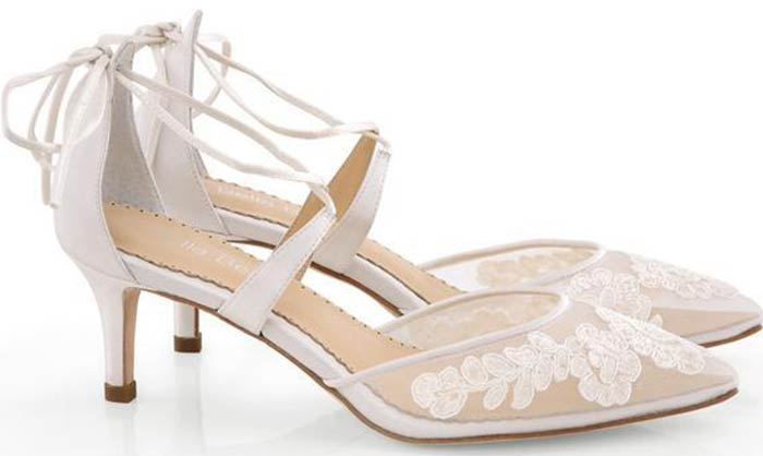 Bridal Wedding Shoes - Lace Mesh Kitten Heels From Belle Belle