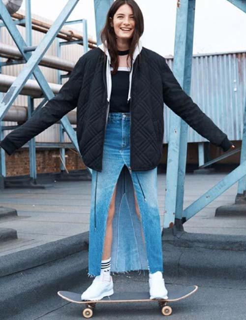8. Long Denim Skirt With Center Slit