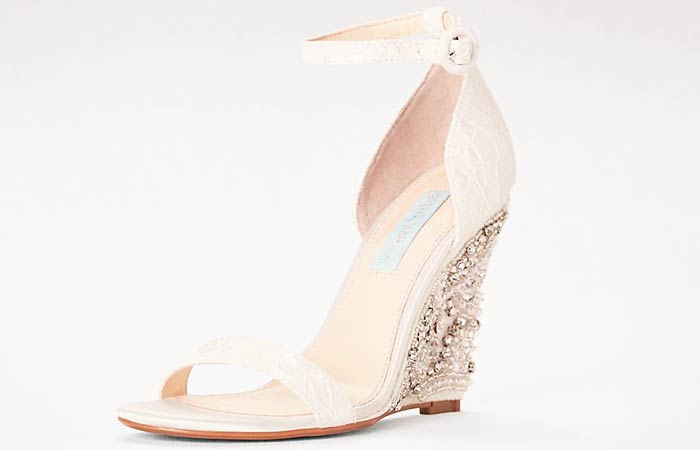 Bridal Wedding Shoes - Ankle Strap Wedges With Silver Embellishments