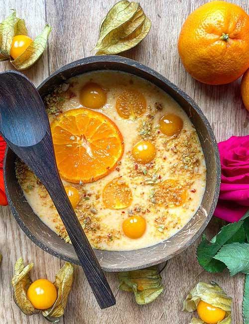 High-Protein Breakfast - Orange Protein Smoothie Bowl