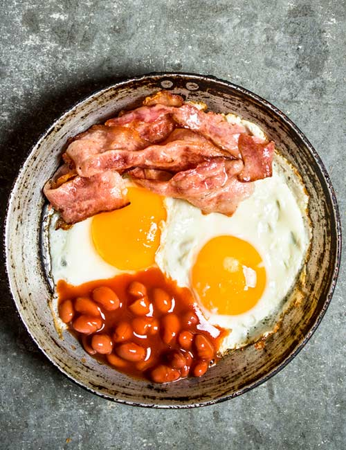 High-Protein Breakfast - Bacon, Baked Beans, And Eggs