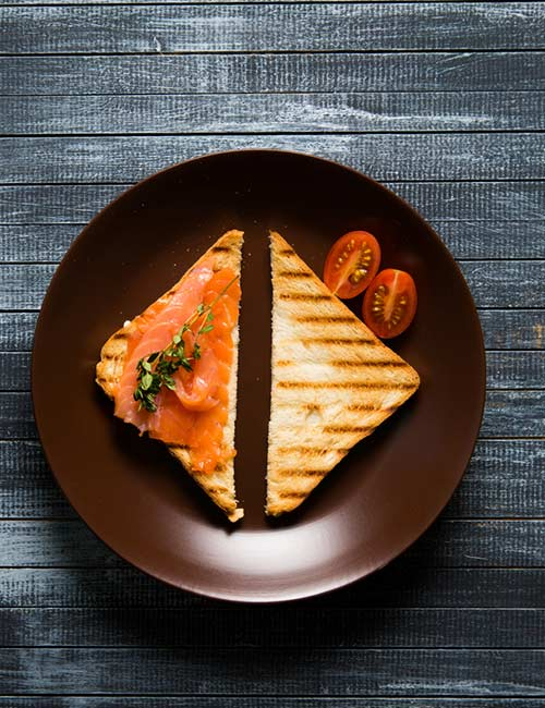 High-Protein Breakfast - Bacon And Salmon Grilled Sandwich