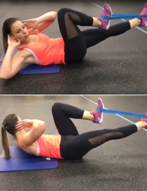Best Full Body Resistance Band Exercises - Resistance Band Bicycle Crunches