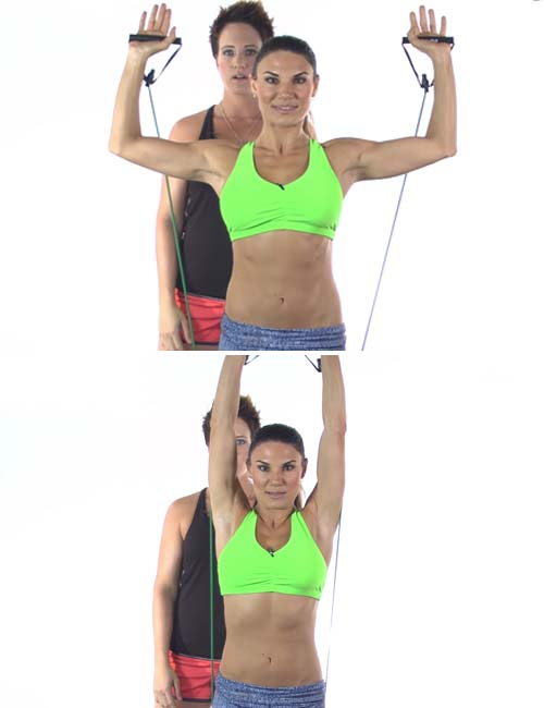 Best Full Body Resistance Band Exercises - Resistance Band Shoulder Press