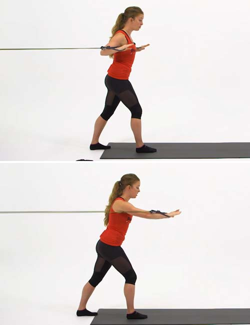 Best Full Body Resistance Band Exercises - Resistance Band Staggered Chest Press