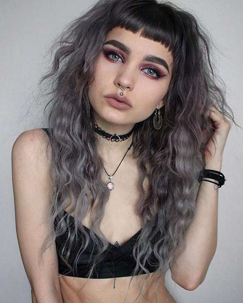 Curly Hairstyles With Bangs - Short Blunt Bangs With Curly Hair