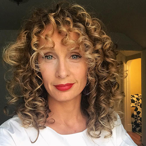 Curly Hairstyles With Bangs - Full Curls With Curly Bangs