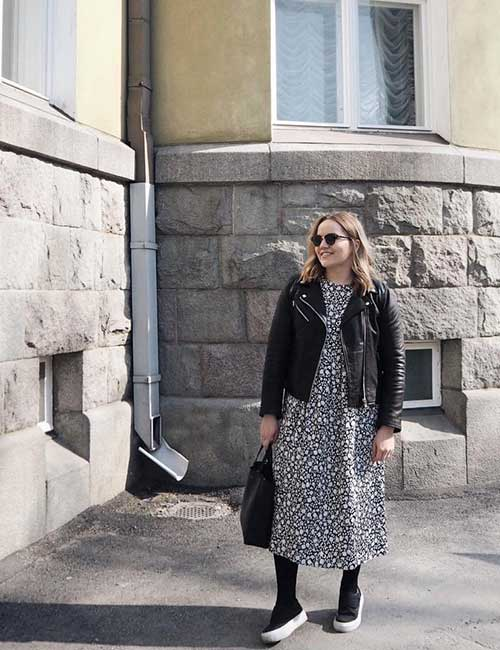 How To Wear A Leather Jacket - Leather Jacket With A Floral Dress