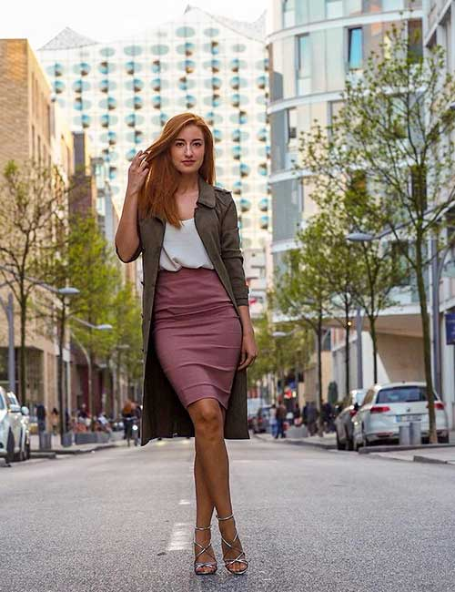 Best Pencil Skirt Outfit Ideas - Pencil Skirt And Overcoat