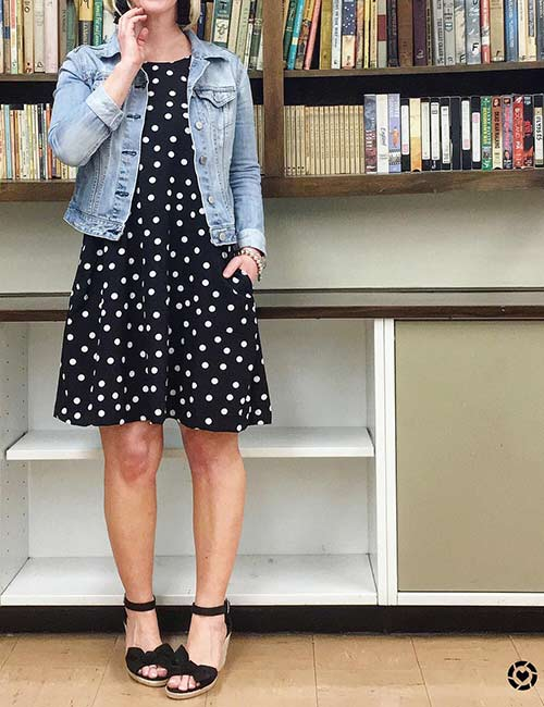 Denim Jackets For Women - Polka Dot Dress And Denim Jacket