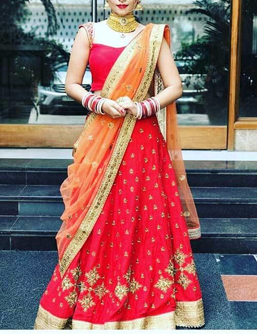 12. Saree Style Lehenga Draping