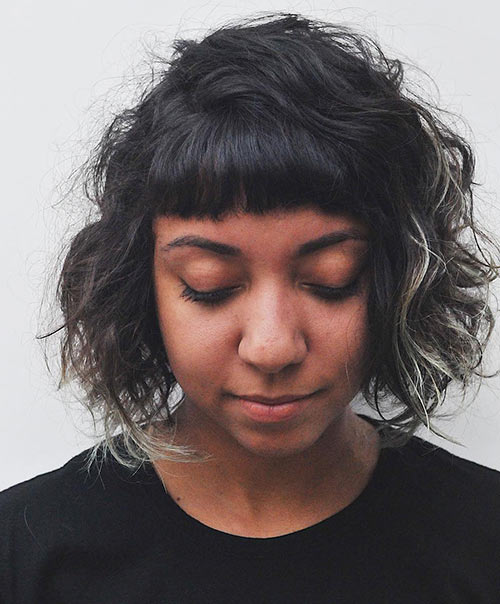Curly Hairstyles With Bangs - Curly Lob