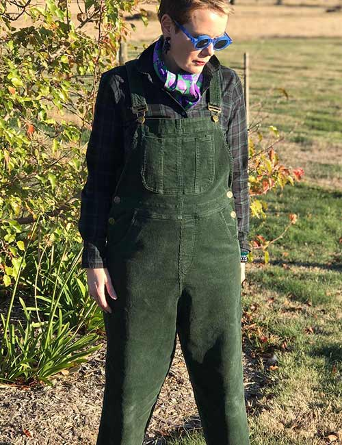 Overall Outfit Ideas - Green Corduroy Overalls