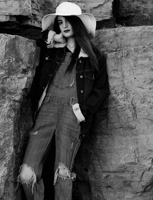 Overall Outfit Ideas - Black Distressed Overalls And Jacket