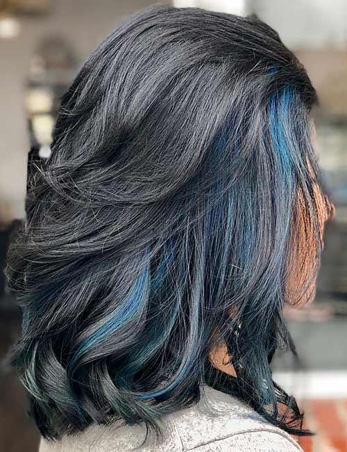 14. Frosted Black Blue Hair