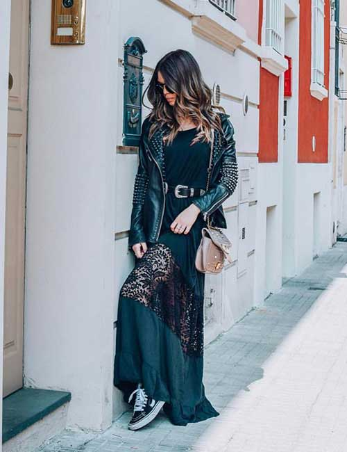 How To Wear A Leather Jacket - Leather Jacket With A Long Dress