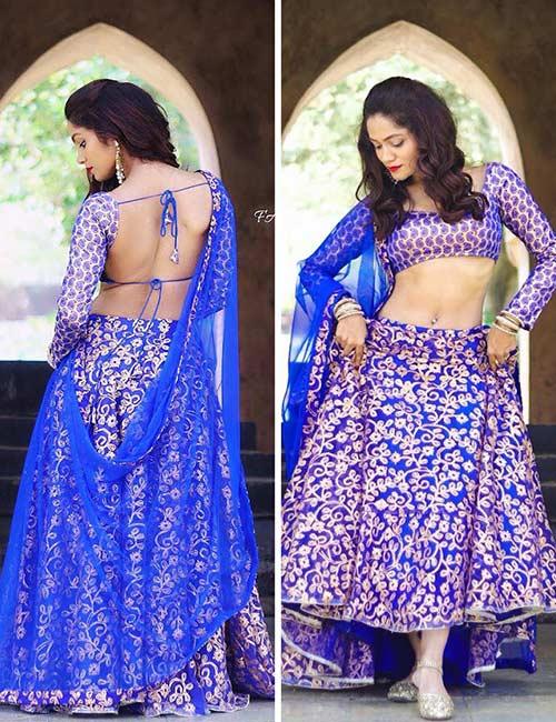 How To Wear A Lehenga - Purple Zardozi Choli With A Backless Blouse
