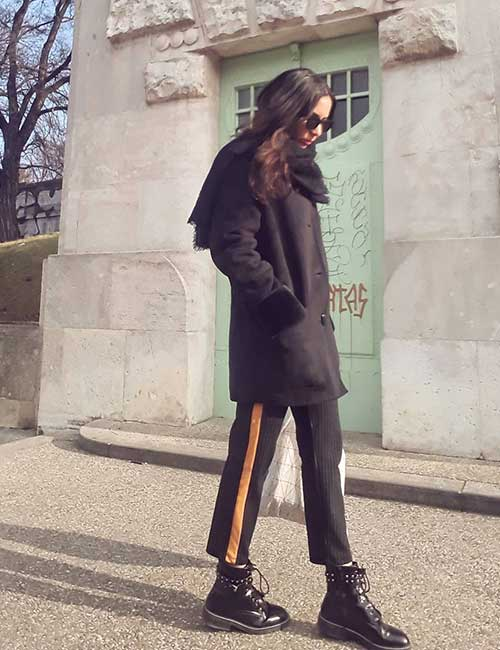 How To Wear Combat Boots - Side Striped Pants With Combats