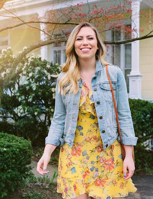 Denim Jackets For Women - Floral Dress With Denim Jacket