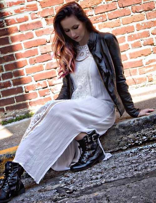 16. Maxi Dress, Leather Jacket, And Combats