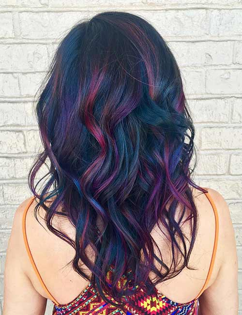 19. Pink Purple Blue Black Hair