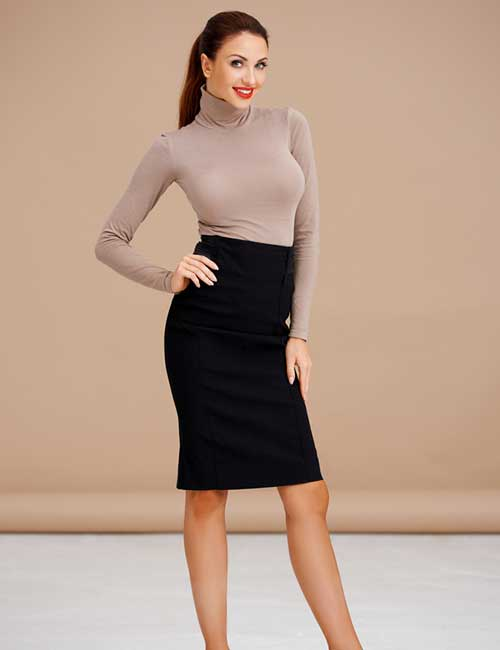 Best Pencil Skirt Outfit Ideas - Black Pencil Skirt And Turtleneck Top
