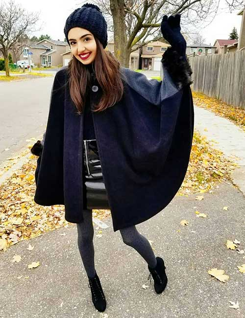 How To Wear A Leather Jacket - Faux Leather Jacket Poncho Style