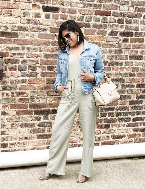 22. Linen Overalls And Denim Jacket