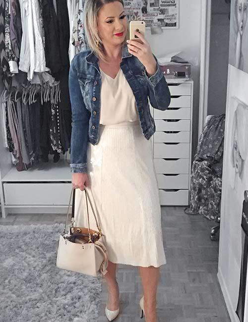 23. White Evening Dress With Denim Jacket