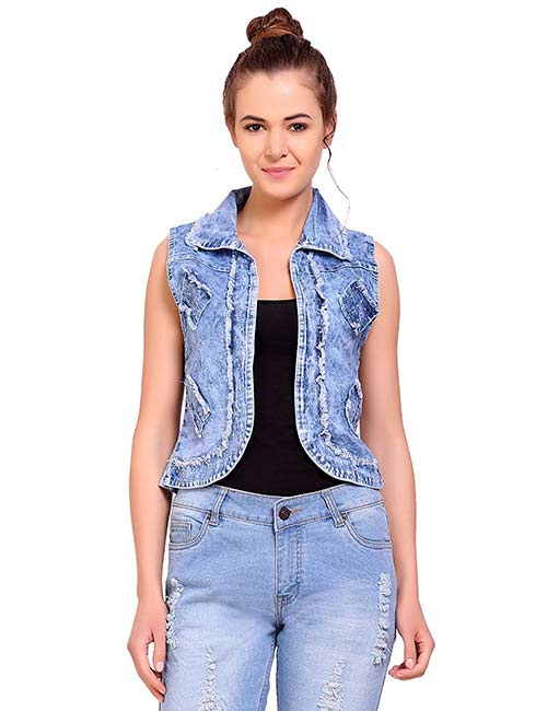 Denim Jackets For Women - Sleeveless Denim Jacket