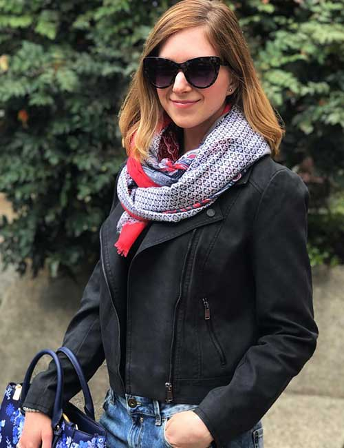 3. Leather Jacket And Scarf