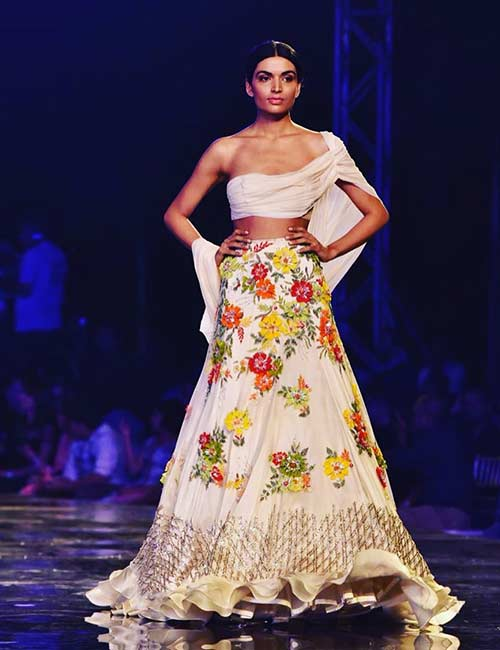 How To Wear A Lehenga - One Sided Floral Couture Lehenga