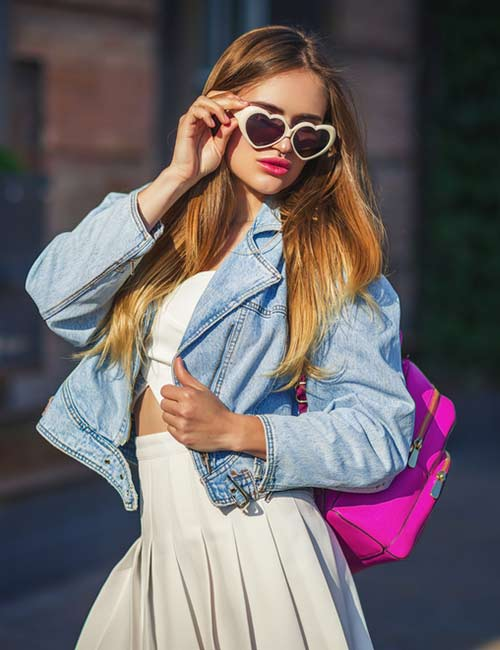 Denim Jackets For Women - White Crop Top And Denim Jacket