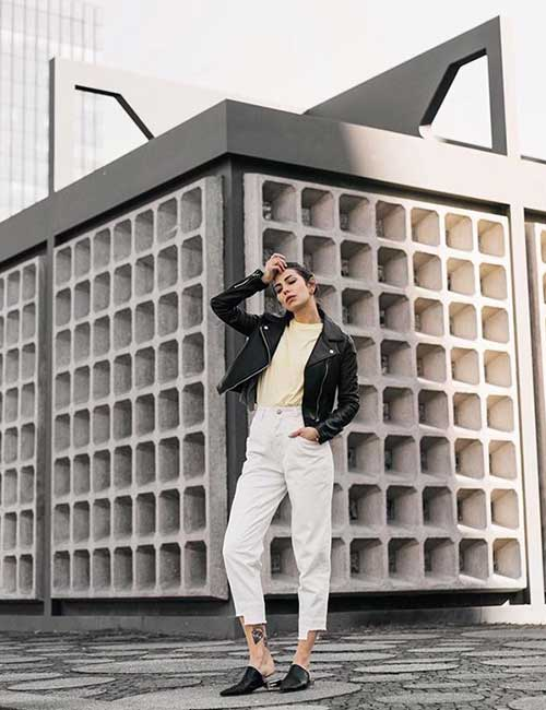 4. Black Short Leather Jacket