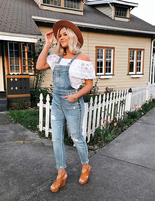5. Frayed Overalls With Off Shoulder Top
