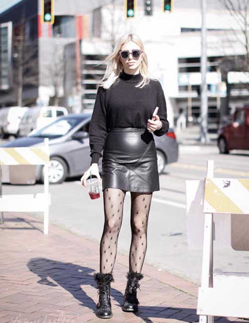 How To Wear Combat Boots - Leather Skirt And Lace Stockings