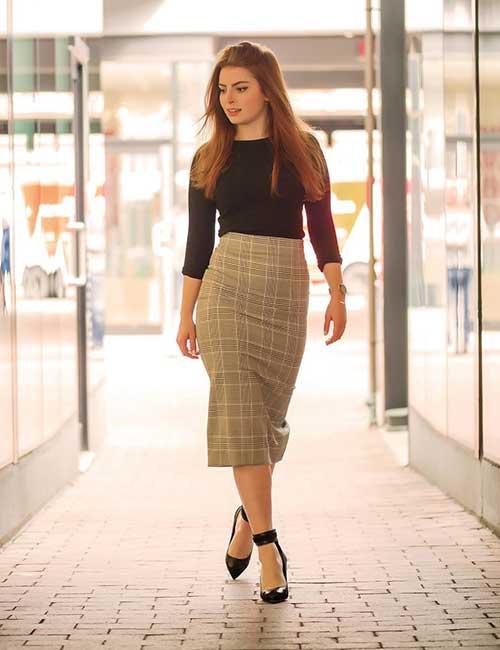 5. Plaid Pencil Skirt