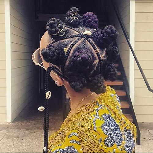 Best Bantu Knots Hairstyles - Cornrow And Bantu Knot Wheel